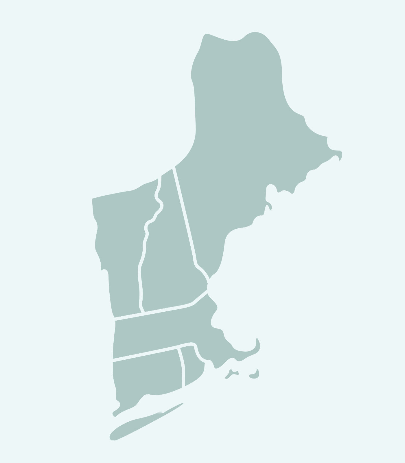 Sales Rep's Map of Massachusetts, Vermont, Maine, Rhode Island, New Hampshire, Connecticut for Women's Clothing Line Keren Hart