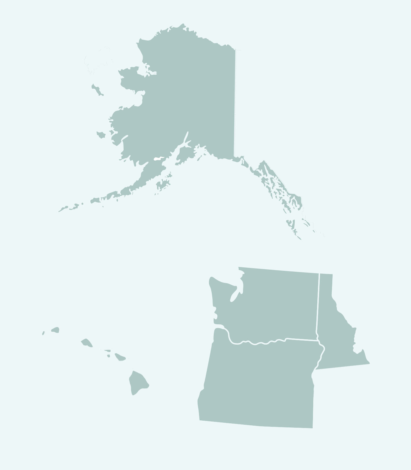 Sales Rep's Map of Alaska, Hawaii, Washington, Oregon, North Idaho for Women's Clothing Line Keren Hart