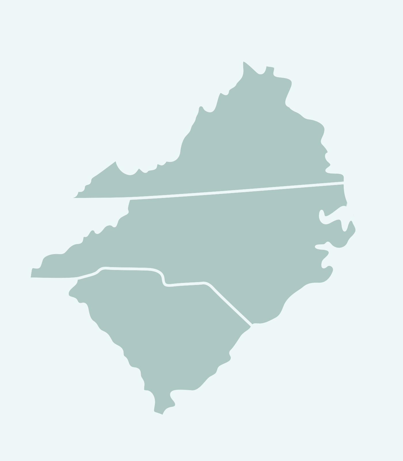 Sales Rep's Map of Virginia, North Carolina, South Carolina for Women's Clothing Line Keren Hart