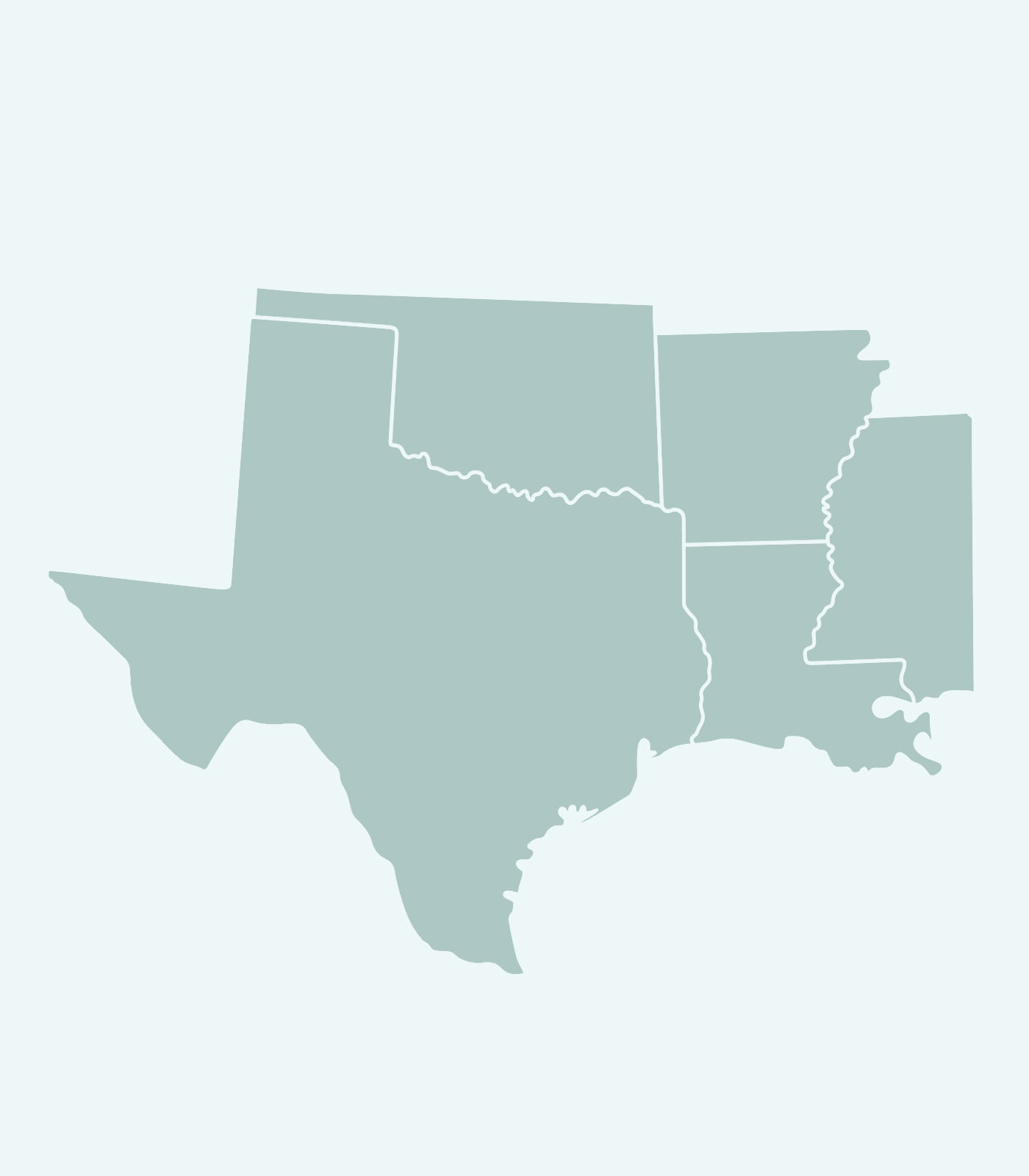 Sales Rep's Map of Texas, Oklahoma, Arkansas, Mississippi, Louisiana for Women's Clothing Line Keren Hart