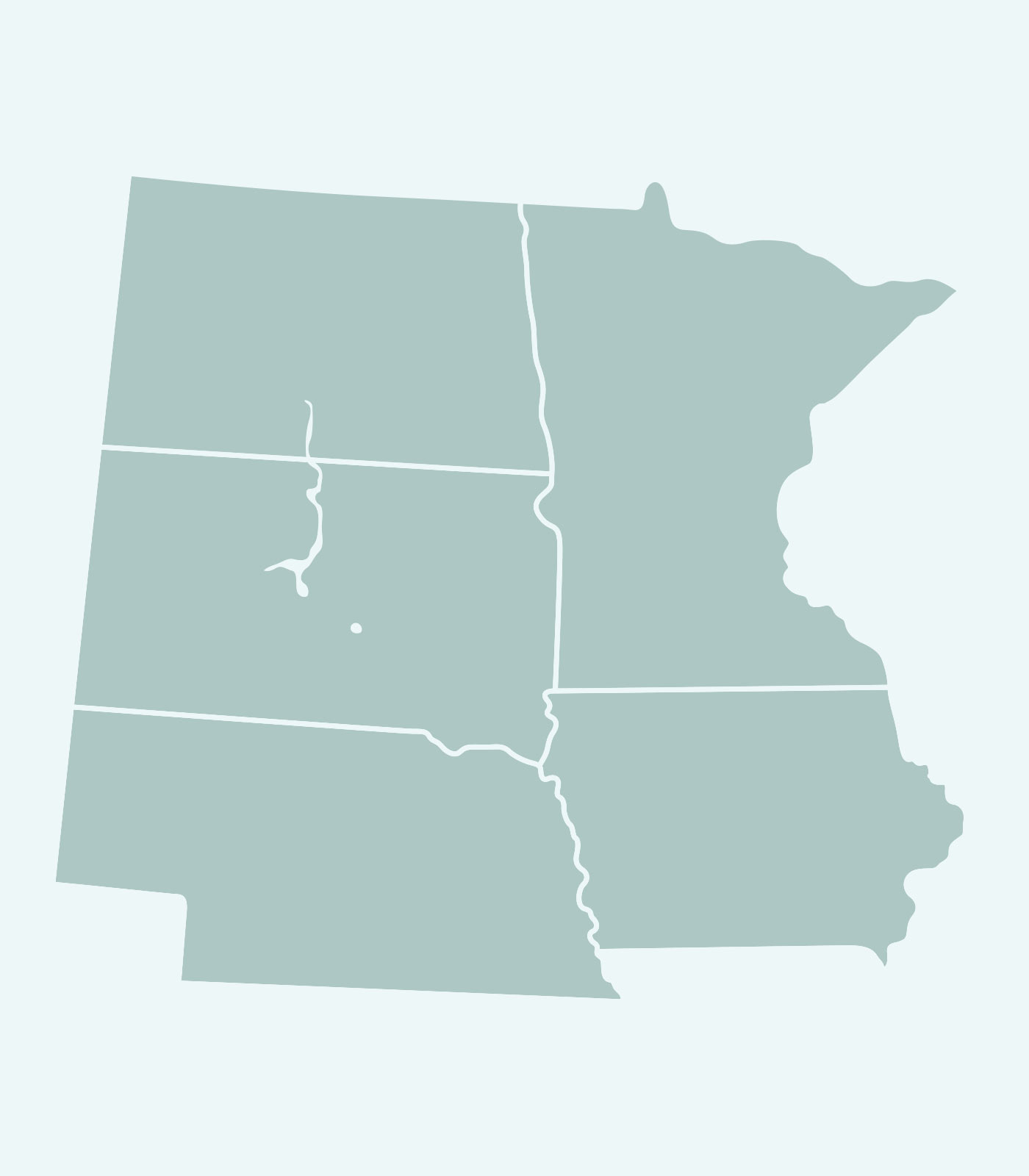 Sales Rep's Map of Minnesota, North Dakota, Nebraska, Iowa, South Dakota for Women's Clothing Line Keren Hart