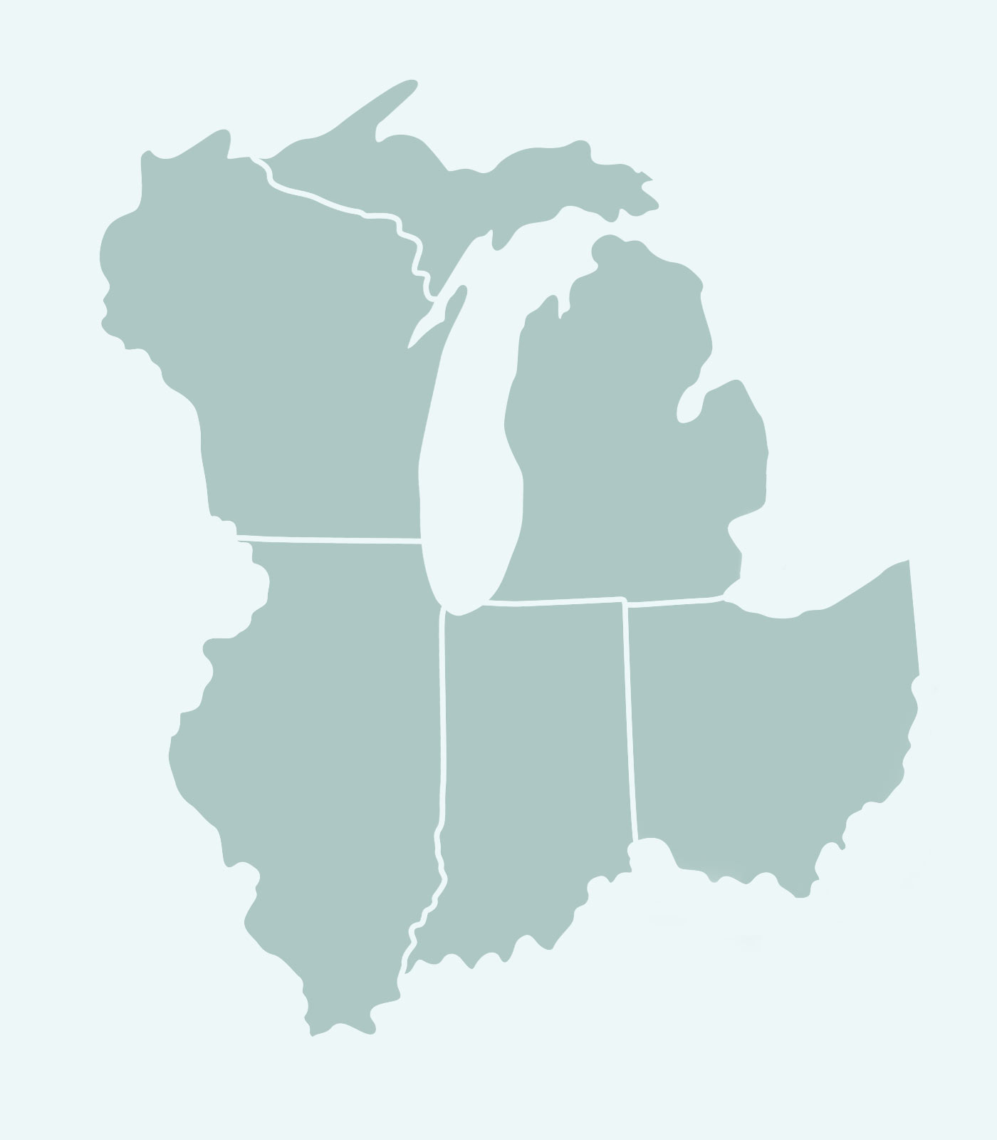 Keren Hart's Sales Reps' Map of Illinois, Wisconsin, Indiana, Michigan, Ohio